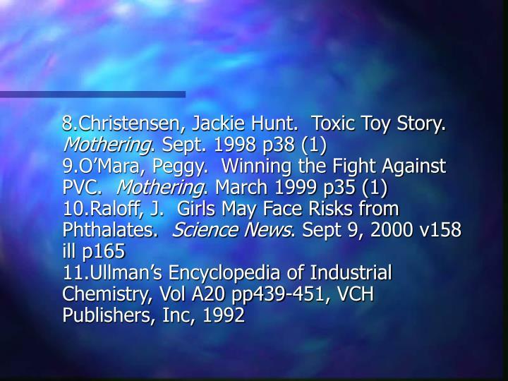 8.Christensen, Jackie Hunt.  Toxic Toy Story.