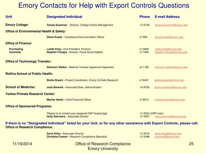 Emory Contacts for Help with Export Controls Questions
