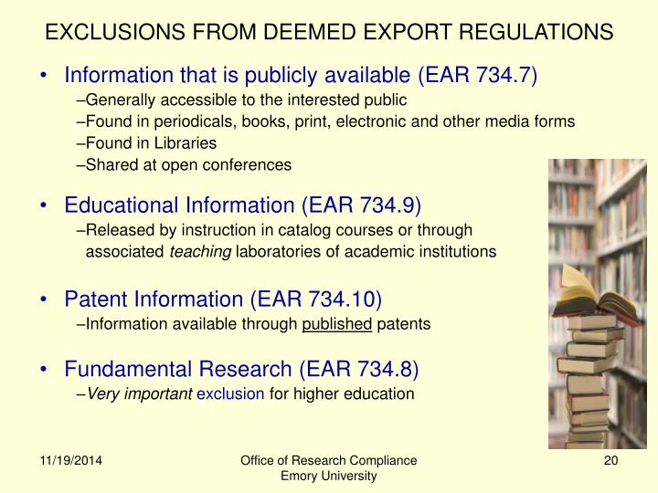 EXCLUSIONS FROM DEEMED EXPORT REGULATIONS