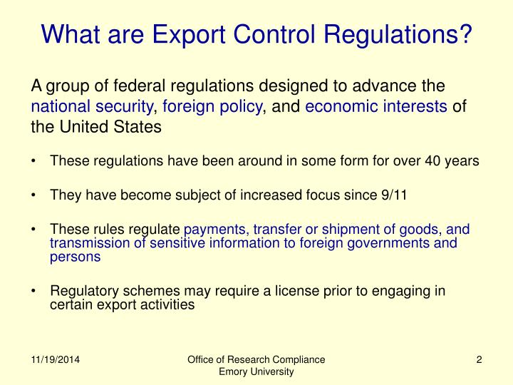 What are Export Control Regulations?