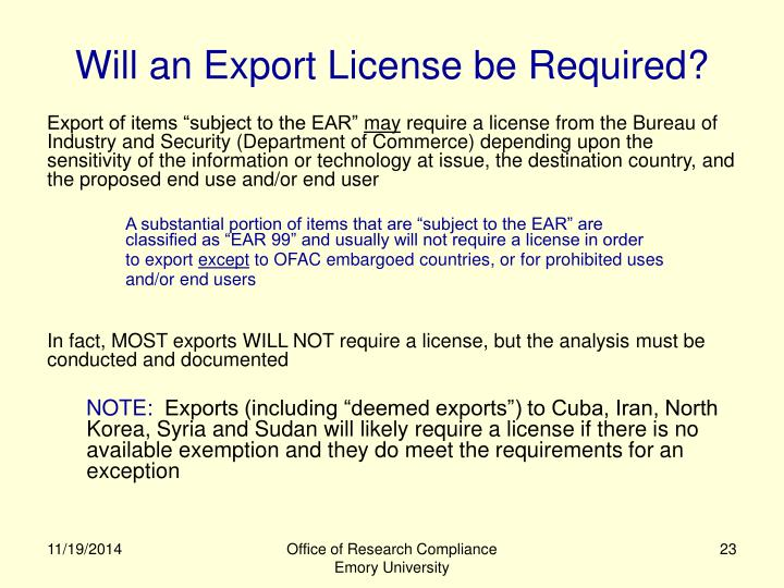 Will an Export License be Required?