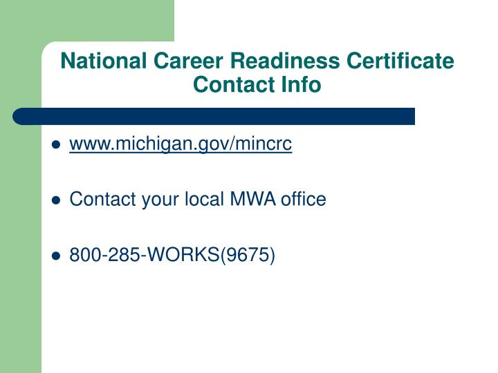 National Career Readiness Certificate Contact Info