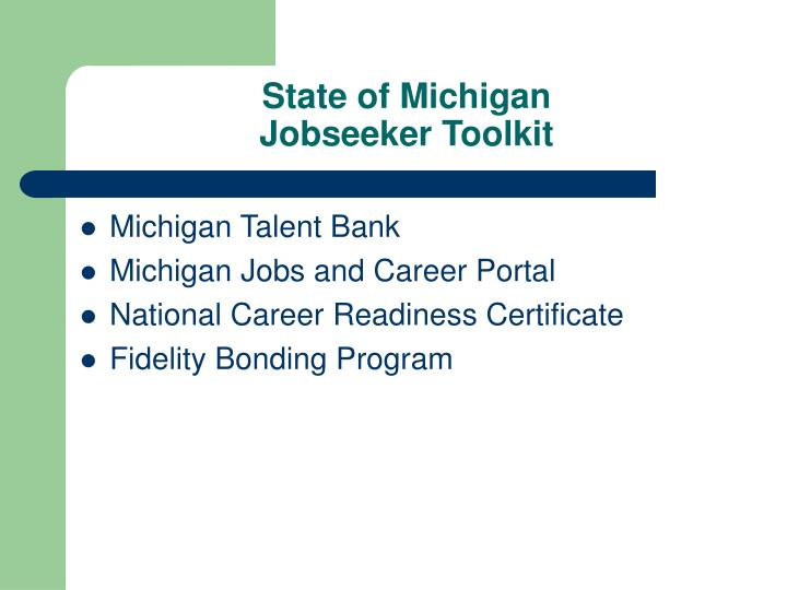 State of michigan jobseeker toolkit