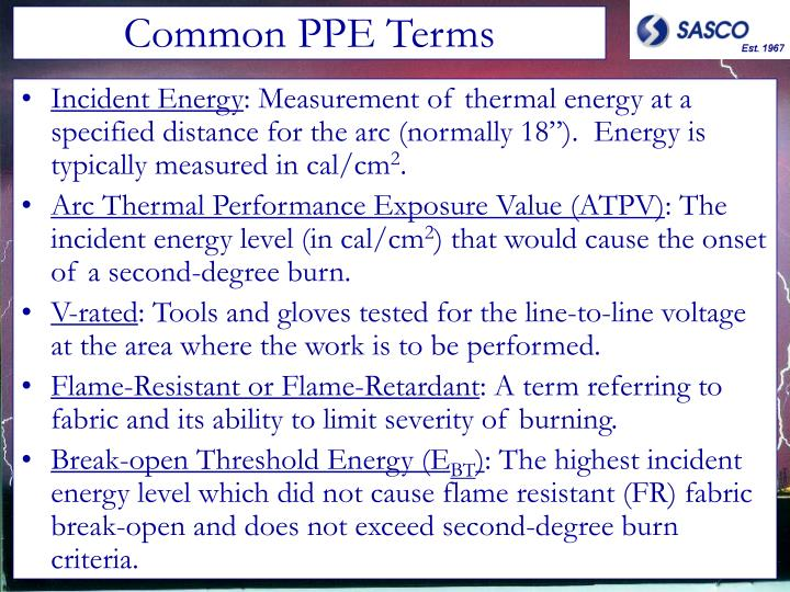 Common PPE Terms