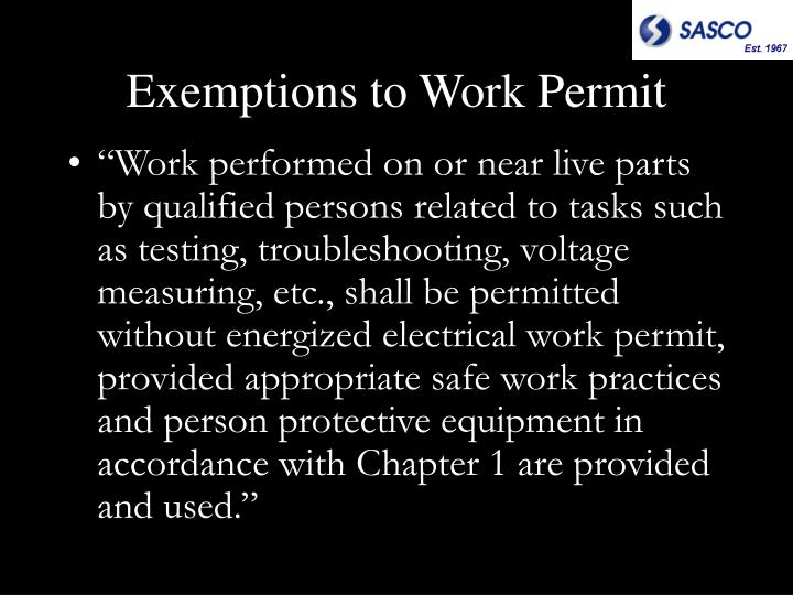 Exemptions to Work Permit
