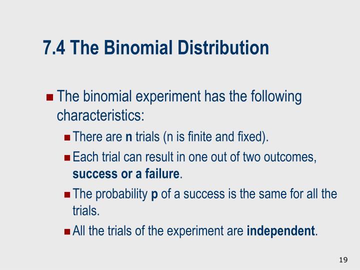 7.4 The Binomial Distribution