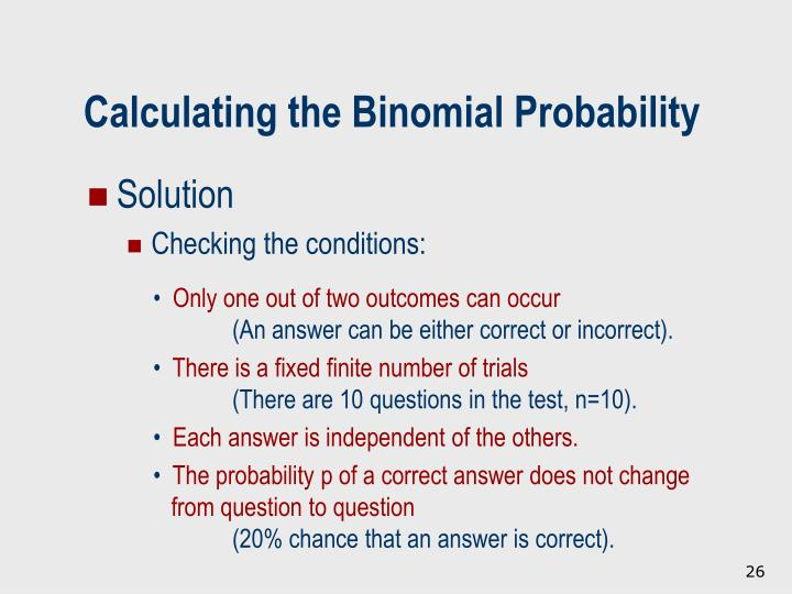 Calculating the Binomial Probability