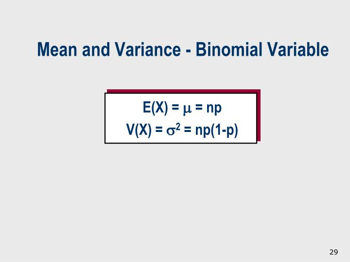 Mean and Variance - Binomial Variable