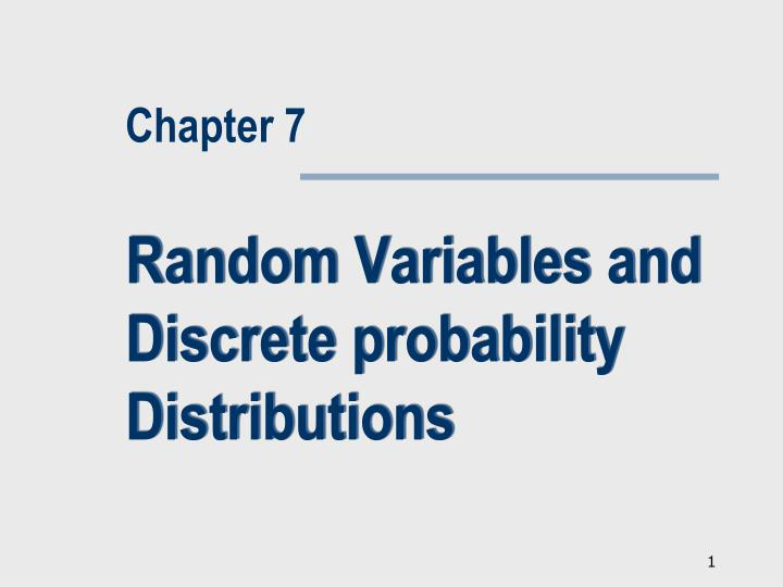 Random variables and discrete probability distributions