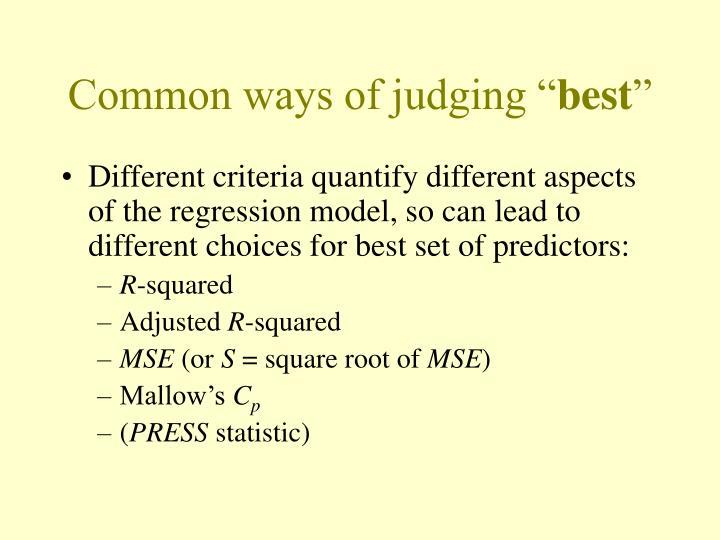 "Common ways of judging """