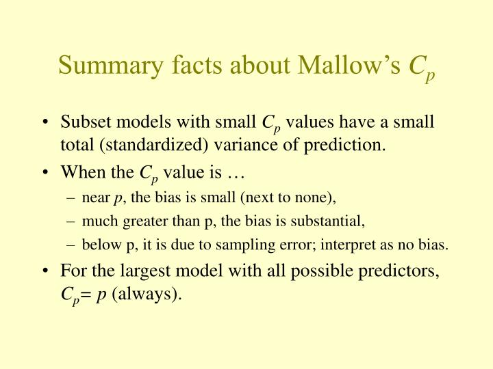 Summary facts about Mallow's