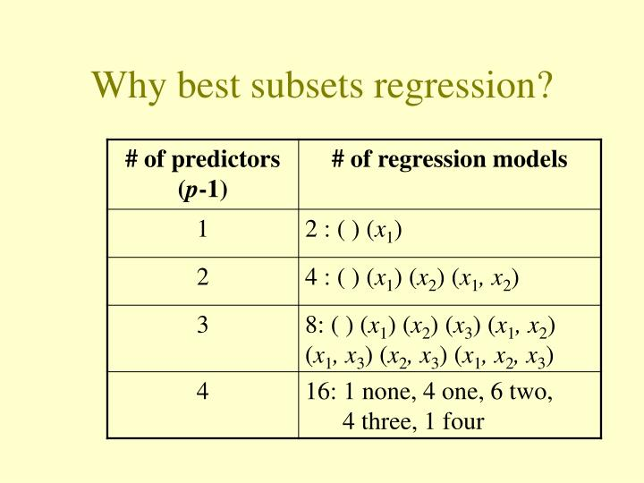Why best subsets regression?
