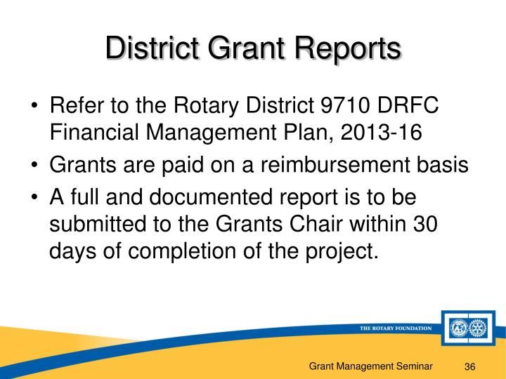 District Grant Reports