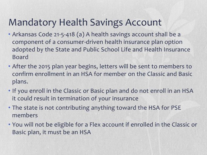 Mandatory Health Savings Account