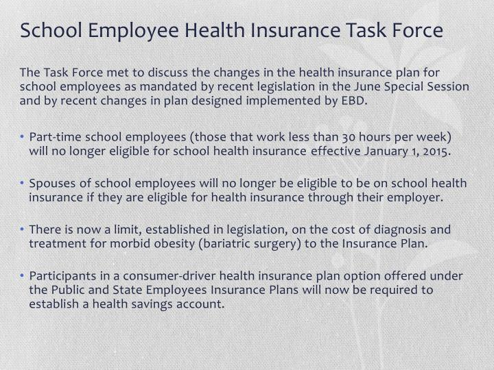 School employee health insurance task force