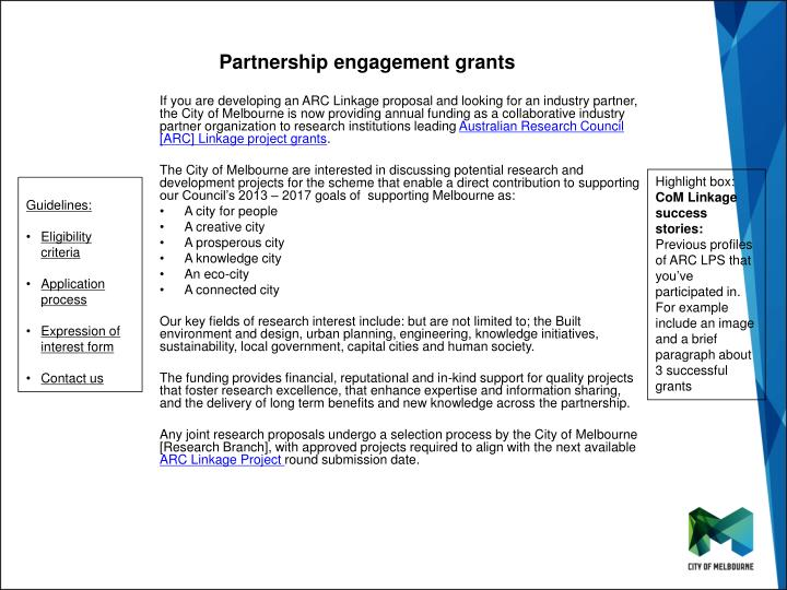 Partnership engagement grants