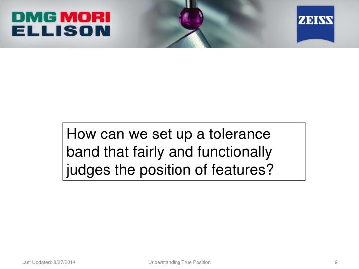 How can we set up a tolerance band that fairly and functionally judges the position of features?