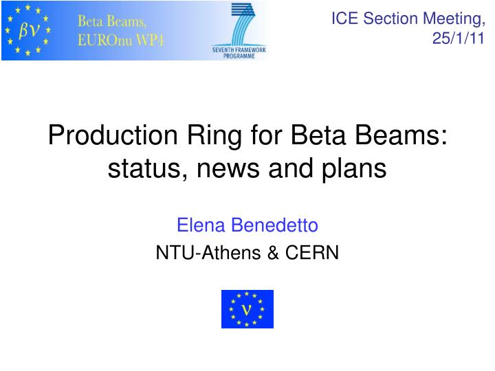 Production ring for beta beams status news and plans