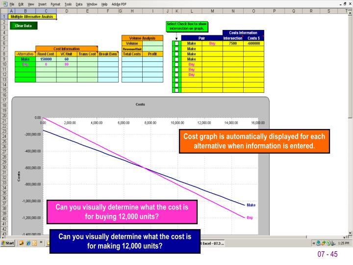 Cost graph is automatically displayed for each alternative when information is entered.