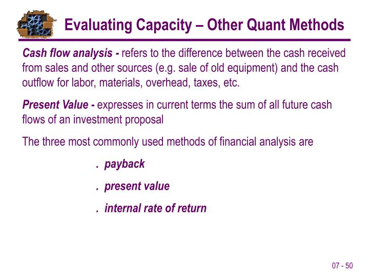 Evaluating Capacity – Other Quant Methods