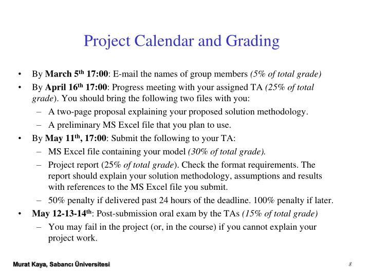 Project Calendar and Grading