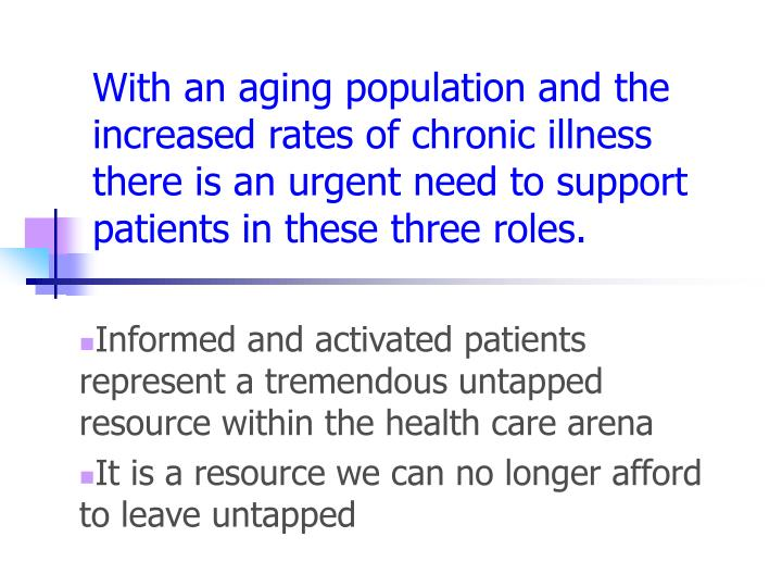 With an aging population and the increased rates of chronic illness there is an urgent need to support patients in these three roles.
