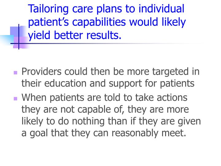 Tailoring care plans to individual patient's capabilities would likely yield better results.