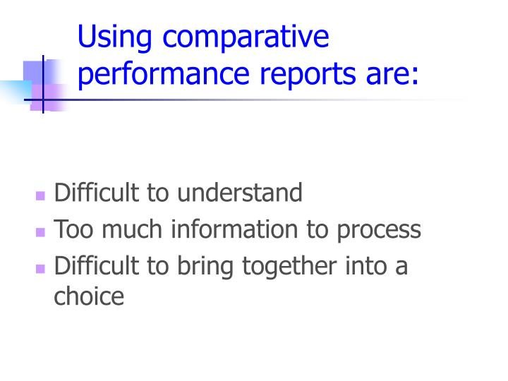 Using comparative performance reports are: