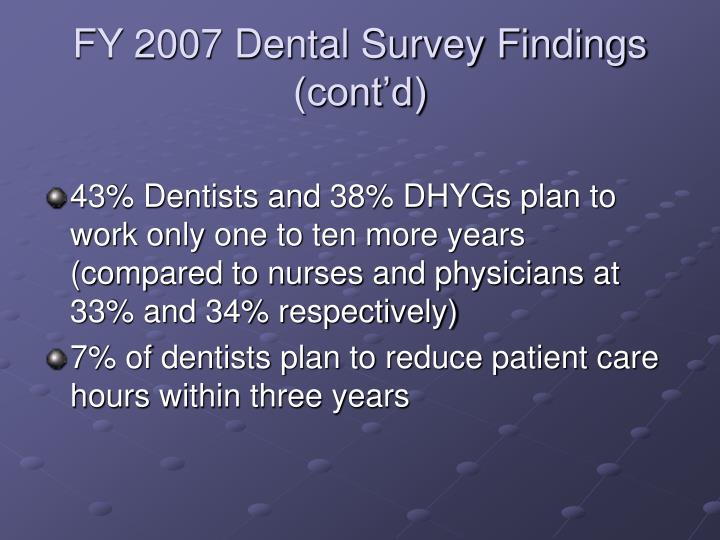 FY 2007 Dental Survey Findings (cont'd)