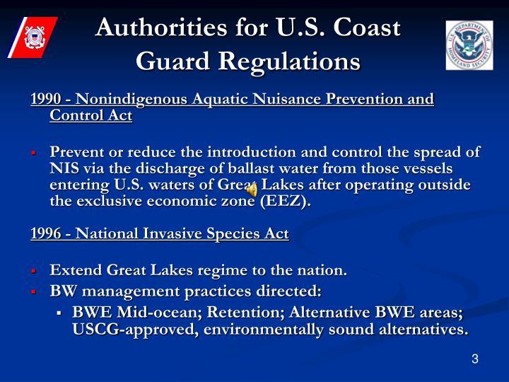 Authorities for U.S. Coast Guard Regulations