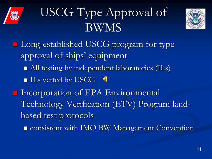 USCG Type Approval of BWMS