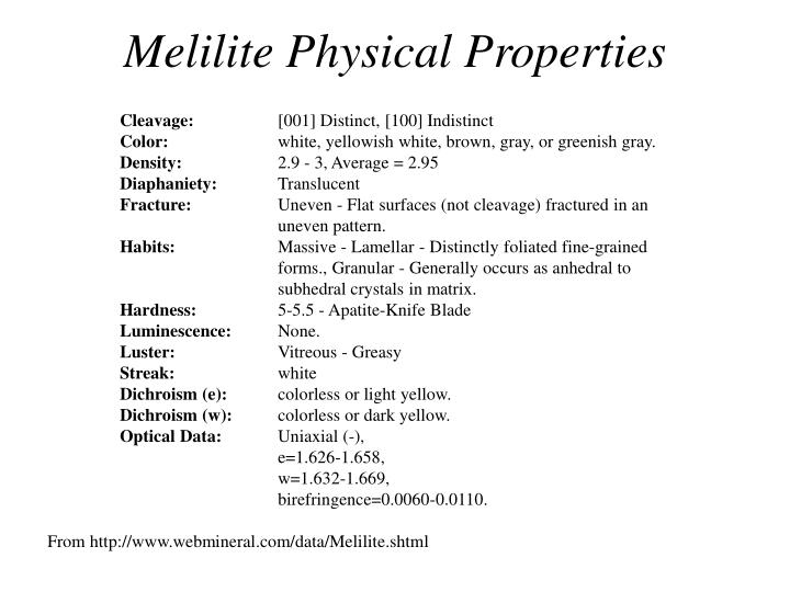 Melilite Physical Properties