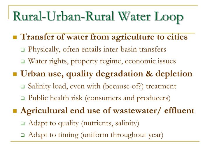 Rural-Urban-Rural Water Loop