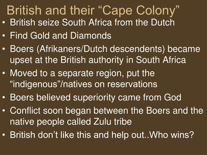 "British and their ""Cape Colony"""