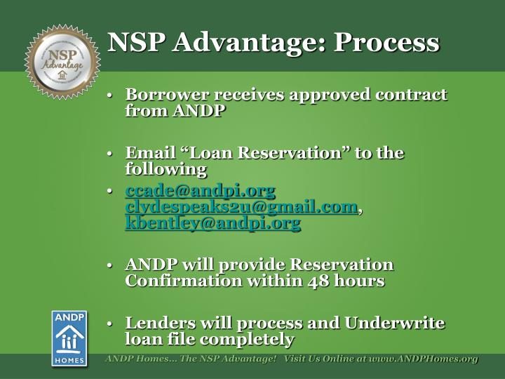 Borrower receives approved contract from ANDP