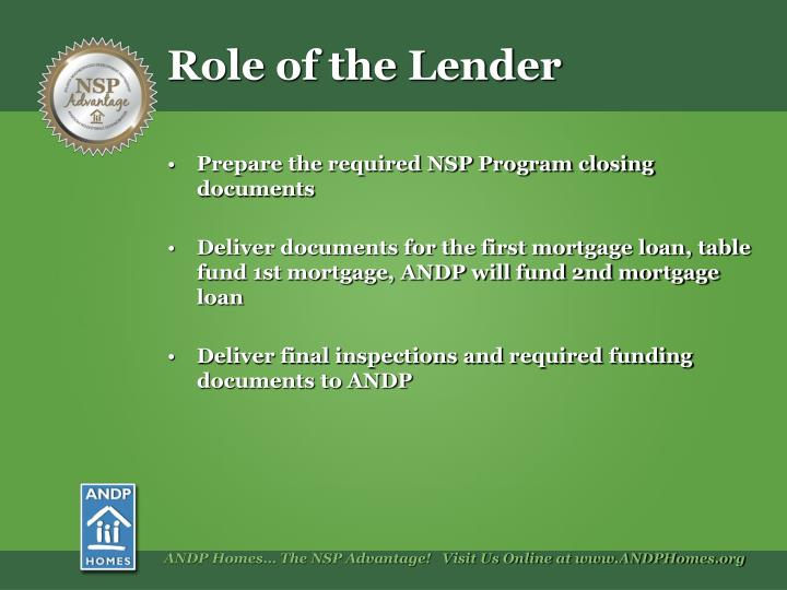 Role of the Lender