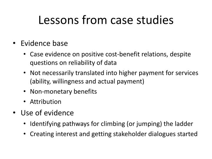 Lessons from case studies