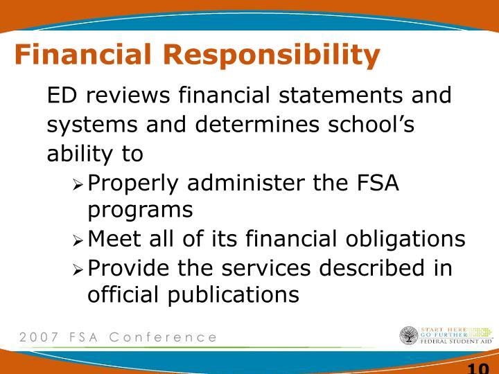 Financial Responsibility