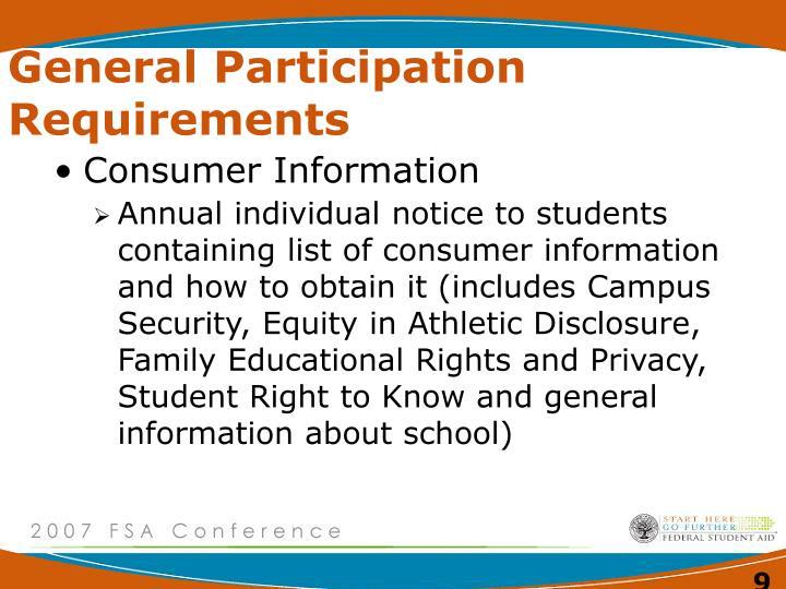 General Participation Requirements