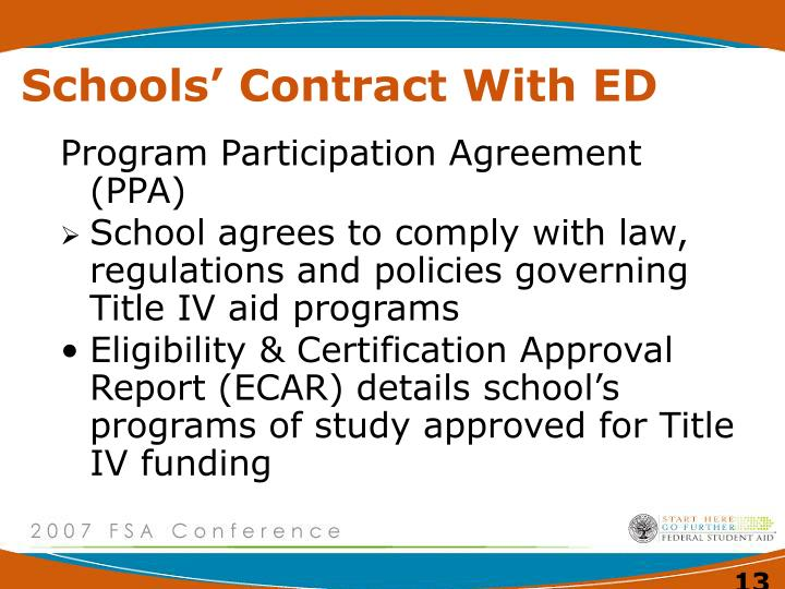 Schools' Contract With ED
