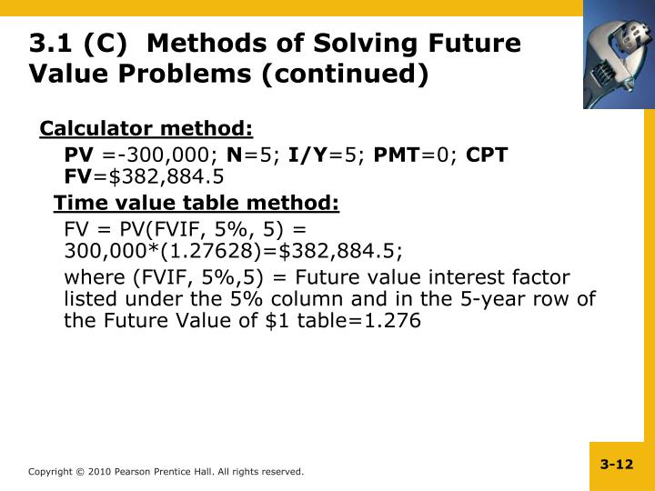 3.1 (C)  Methods of Solving Future Value Problems (continued)