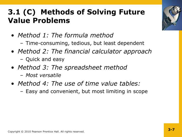 3.1 (C)  Methods of Solving Future Value Problems