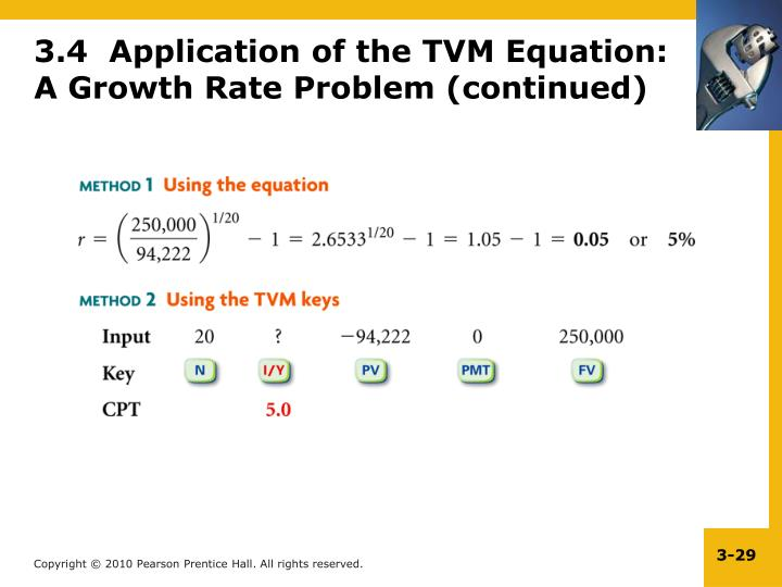 3.4  Application of the TVM Equation: A Growth Rate Problem (continued)