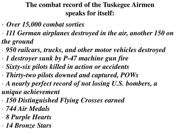 The combat record of the Tuskegee Airmen