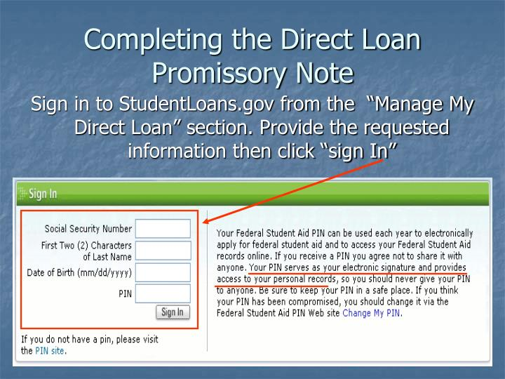 Completing the Direct Loan Promissory Note