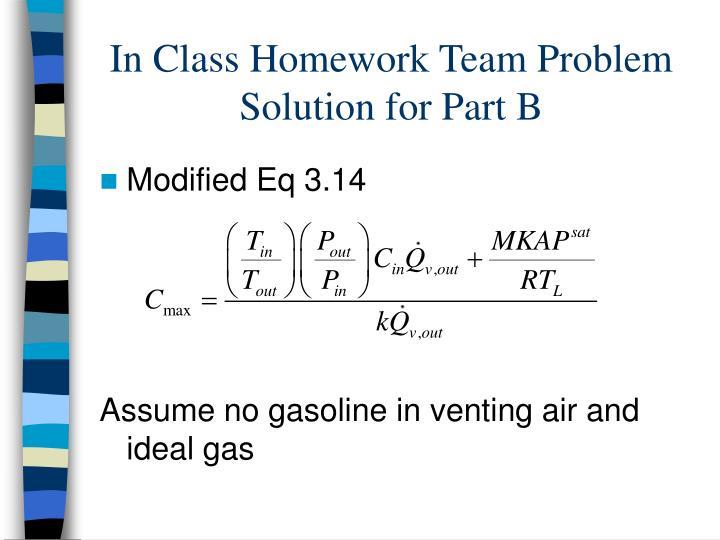 In Class Homework Team Problem