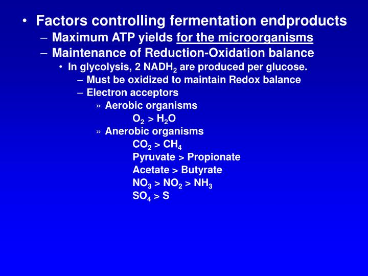 Factors controlling fermentation endproducts