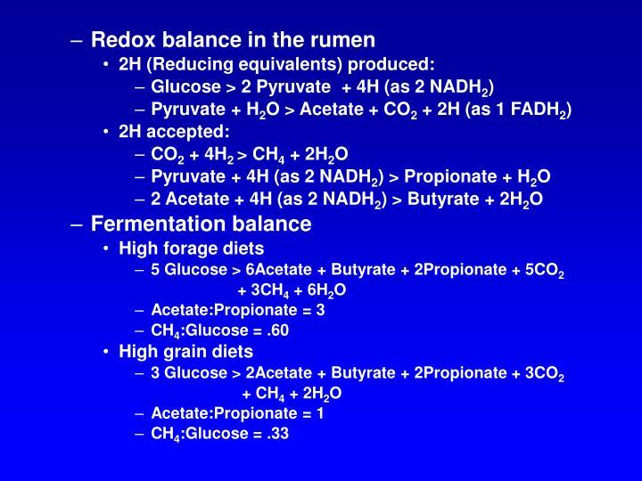 Redox balance in the rumen