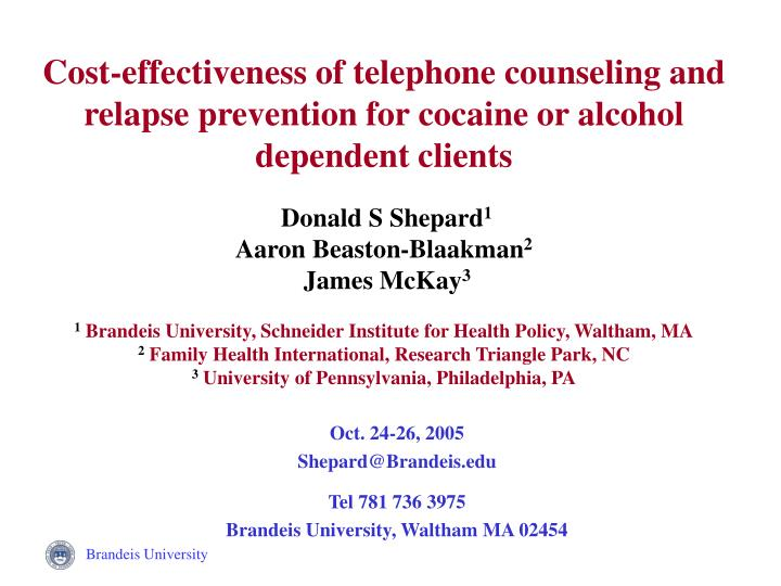 Cost-effectiveness of telephone counseling and relapse prevention for cocaine or alcohol dependent clients