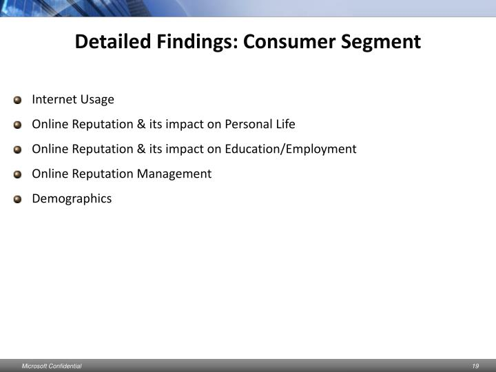 Detailed Findings: Consumer Segment